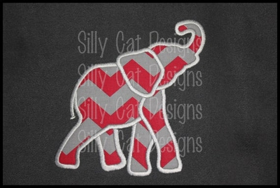 SMALL Elephant Applique Machine Embroidery Design (Pocket Tee Size)