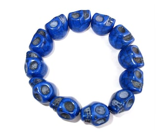 17mm x 14mm Imitate Blue Turquoise Carved Skull Beads Stretch Rope Bracelet  T3024