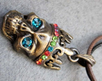 Colorful Acrylic Diamond Inlaid Metal Blue Eye Skull Head Pendant Necklace 32mm x 18mm  T2344