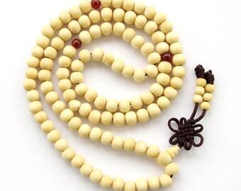 8mm x 7mm 108 White Sandalwood Wood Beads Tibet Buddhist Buddha Praying Mala Necklace  ZZ010