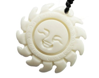 One Bead White Ox Bone Carved Happy Sun Face Pendant 35mm x 35mm  T0648