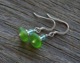 Sea Glass Earrings Lime Apatite Sterling Silver
