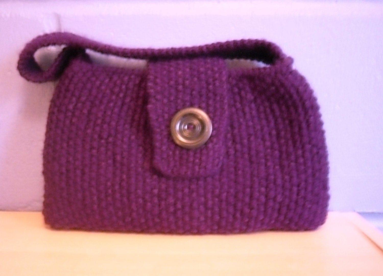 Knitting Pattern Evening Bag : Purple Evening Bag Small Knitted Handbag