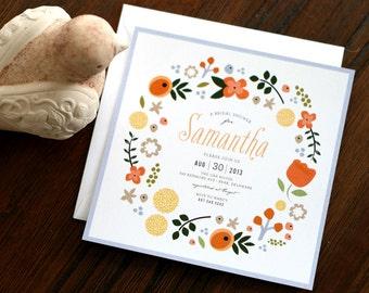 Bridal Shower Invitation, Floral Shower Invite - Abundance Floral
