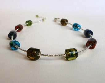 Colorful Glass Bead Necklace Silver Seed Bead Choker Style Necklace Multicolor Rainbow Necklace Simple Everyday