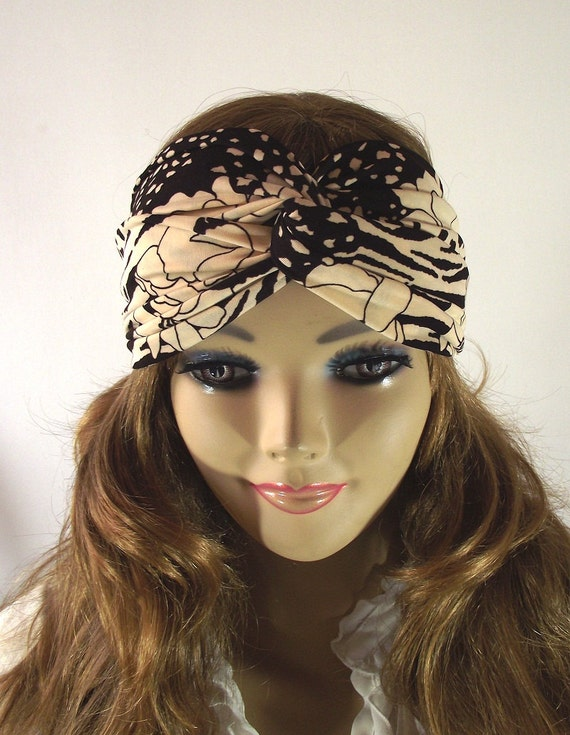 BLACK BEIGE Boho Turban Twist Headband Head Scarf Boho Headwrap Stretchy Hairband Women Fashion Hair Band