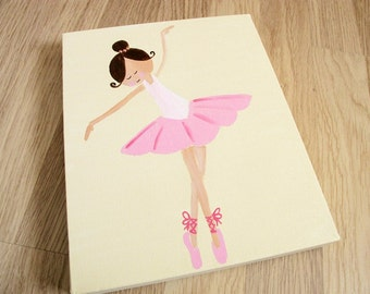 Kids wall art - 3 ballerinas canvas paintings for girls room,children decor