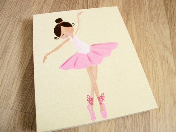 Kids wall art 3 ballerinas canvas paintings for girls for Canvas painting ideas for bedrooms