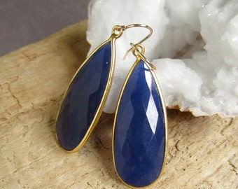 Genuine Blue Sapphire Earrings, Gemstone Earrings, Large Rough Cut Drop Earrings 18K Gold Vermeil Bezel Set
