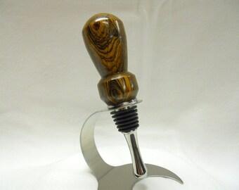 Handmade Wine Bottle Stopper No. 1, Bocote, Stainless Steel