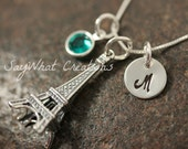 Sterling Silver Mini Initial Hand Stamped Paris Eiffel Tower Charm Necklace