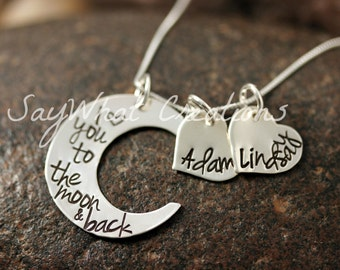 I Love You To The Moon Sterling Silver Moon Shaped Necklace Custom Hand Stamped with TWO hearts