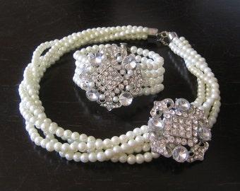 Ivory Bridal Jewelry Set - (2 Items ) Bridal Necklace and  Bracelet ,wedding Necklace,Pearl rhinestone  Necklace