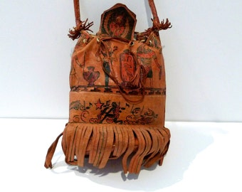 Egyptian Leather Bag Ancient Egypt Pouch Purse Vintage painted leather Top Handle Purse Fringe Pharoah Ethnic Tribal FREE US SHIP