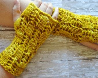 Fingerless Gloves, SALE.... Gloves, Womens Wool Fingerless Gloves, Yellow, Shabby Chic, Winter Accessories,  Fashion Gloves