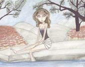 Mermaid, poolside, fantasy artwork, big eyed girl, doe eyed, sage green and rose, stroll, siren