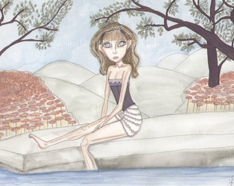 Mermaid, poolside, fantasy artwork, big eyed girl, doe eyed, sage green and rose, stroll, siren