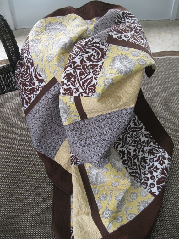 Lap Quilt - Sunflowers (Yellow/Brown)- Modern - SALE