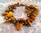 Leaf Bracelet - Mustard Yellow - Shell - Glass