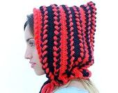 Crochet Pixie Hat, Orange Black Crochet Hat, Womens Hat, Gnome Hat, Hood, Fall Fashion, Halloween Hat. Braided hood, cowl, cape, riding hood