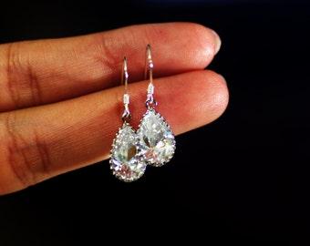 Flower Girls or Bridesmaids Jewelry Petite Teardrop Pear Dangle Earrings for Wedding - Petite cubic zirconia - 925 Sterling Silver Ear Hook