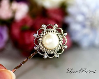 Silver Wedding Band Royal Vintage Wedding Adjustable Ring or Bobby Pin with Sparky Swarovski Crystal & Pearl - Choose your Style