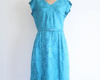 vintage 60s teal rose brocade party dress - blue green dress / 50s floral brocade dress / 1960s mad men dress