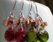 Ruby OR Emerald Faceted Swarovski Briolette Earrings  Classic & Elegants