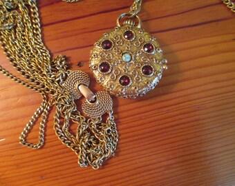 Superb Goldette Signed Embossed Reversible Gold Plate POCKET WATCH LOCKET 4-Strand Vintage Necklace