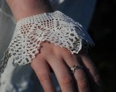 Vintage lace bridal bracelet, Victorian or Edwardian antique white wedding cuff. 'Something Old'