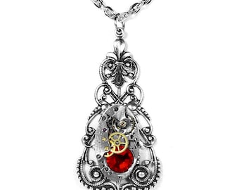 Steampunk Jewelry Womens Vintage Necklace WALTHAM Watch ORNATE Filigree Red Crystal Wedding Mothers Mom Gift - Jewelry by Steampunk Boutique