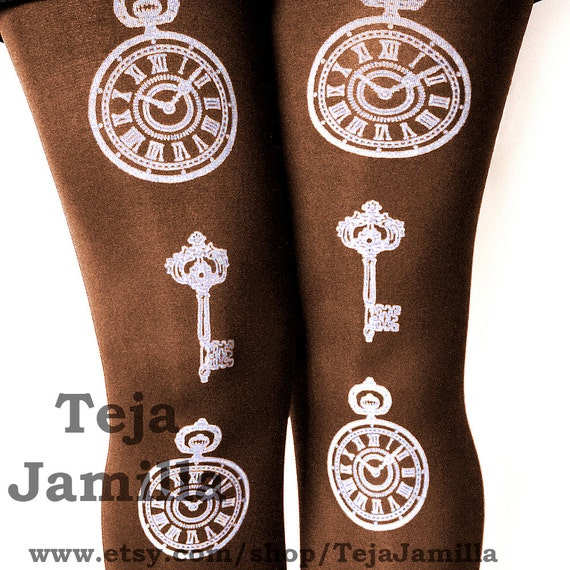 Pocketwatch & Key Steampunk Tights White on Chocolate Brown Warm Thick Large L Winter Womens Victorian