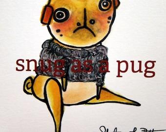 Pug Dog Holiday Cards: Set of 12 Christmas Cards