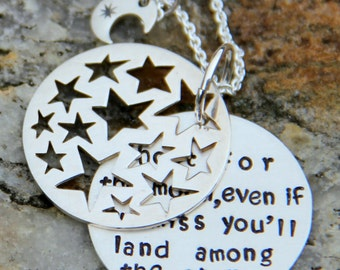 Shoot for the moon Necklace, Stars, Night Sky, You'll Land Among the stars, Stars Pendant, Birthday