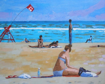 Large Beach Painting  36 x 36 Inches Original art Acrylic on canvas-woman-lifeguard- man on the beach