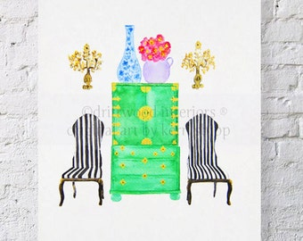 Windsor's Chairs Interior Portrait Watercolor Print 8x10 - Watercolor Art Print Interior Design