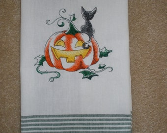 A Halloween Kitten with Jack-O-Lantern Embroidered Towel