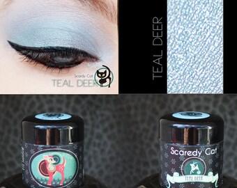 Eye Shadow Blue Shimmer - Vegan - Loose Mineral Pigment Eyeshadow - Scaredy Cat - TEAL DEER - 5 mL Sifter