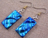 Dichroic Glass Earrings - Silver Teal Blue Turquoise Ripple Waves Rectangle Dangle Surgical Steel French Wire or Clip On
