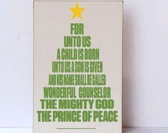 For Unto Us A Child Is Born Wood Sign, Holiday Sign, Christmas Home Decor, Christmas Wall Art, Christmas Tree Typography Design, Wood Sign