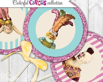 """Circus Party Colorful Printable 4"""" Themed Party Circles by Cutie Putti Paperie"""