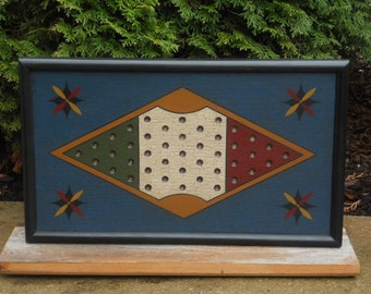 """Primitive 2 Player Wood Chinese Checkers Game Board Folk Art 11"""" x 19"""" Gameboard"""