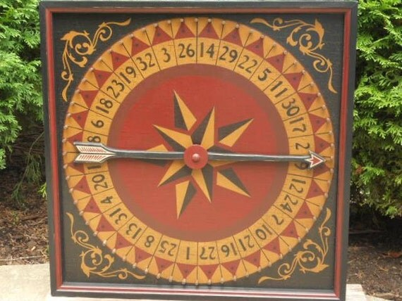 "19"", Roulette Wheel, Primitive, Wood, Game Board, Wheel of Chance, Wooden, Game, Folk Art, Hand Painted"