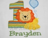 Boys Lion and Balloon Birthday Shirt or Bib Personalized Embroidered Applique Circus Zoo 1st 2nd 3rd Girls