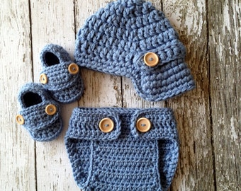 Oliver Newsboy Cap, Booties and Matching Diaper Cover in Stonewash Available in 0 to 24 Months Size- MADE TO ORDER