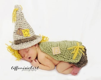 Little Mr Scarecrow Hat and Cuddle Cape Set 0-3 Month Size- MADE TO ORDER