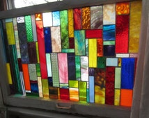 Vintage Window Frame with Stained Glass