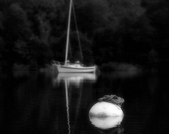 sailboat photography, nautical photography, sailboats, boats, black and white photography, Mooring Buoy and Sailboat