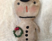 Primitive Christmas Snowman Doll Ready To Ship FAAP Team OFG Team