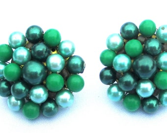 Vintage Green and Teal Beaded Cluster Earrings, Clip on Pierced Conversion Available